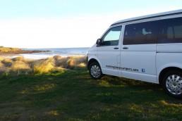 Van and beach view