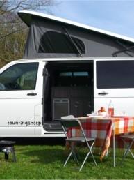 Van and picnic table