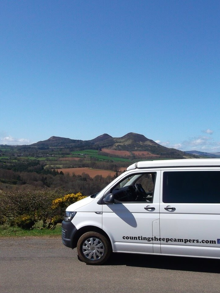 view over scottish borders camper van rent