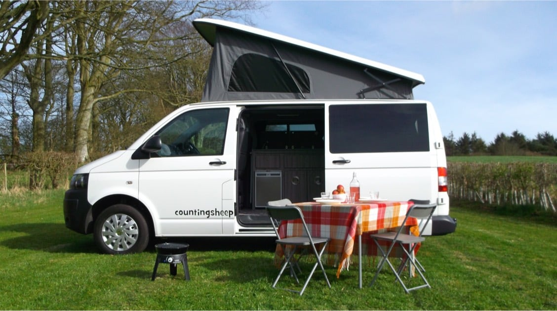 Van and picnic table campervan hire
