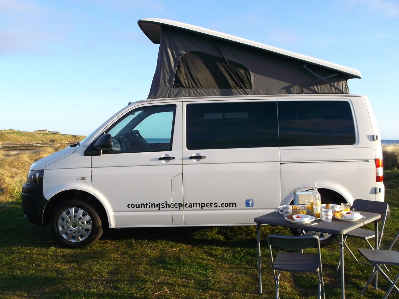 Van near beach campervan