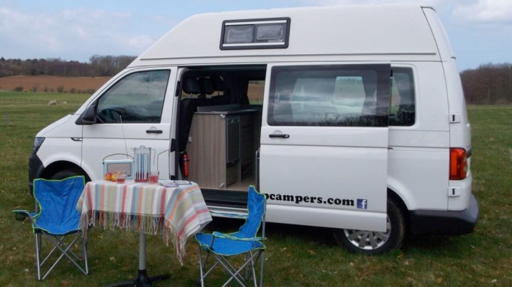 skye in field campervan rent