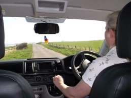 driving sandy down road camper van hire