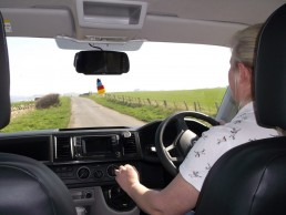 driving sandy down road camper van hire