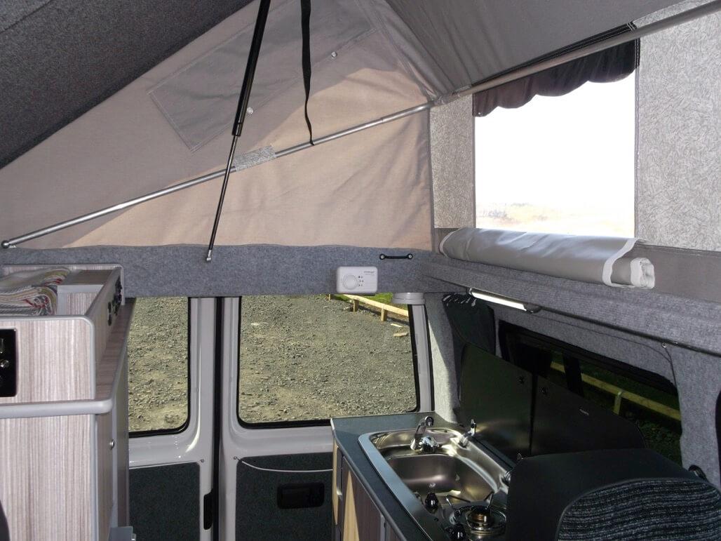 inside kitchen sandy camper van rent
