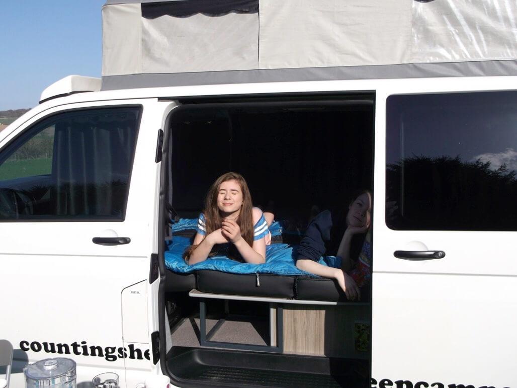 enjoying the sun camper van hire