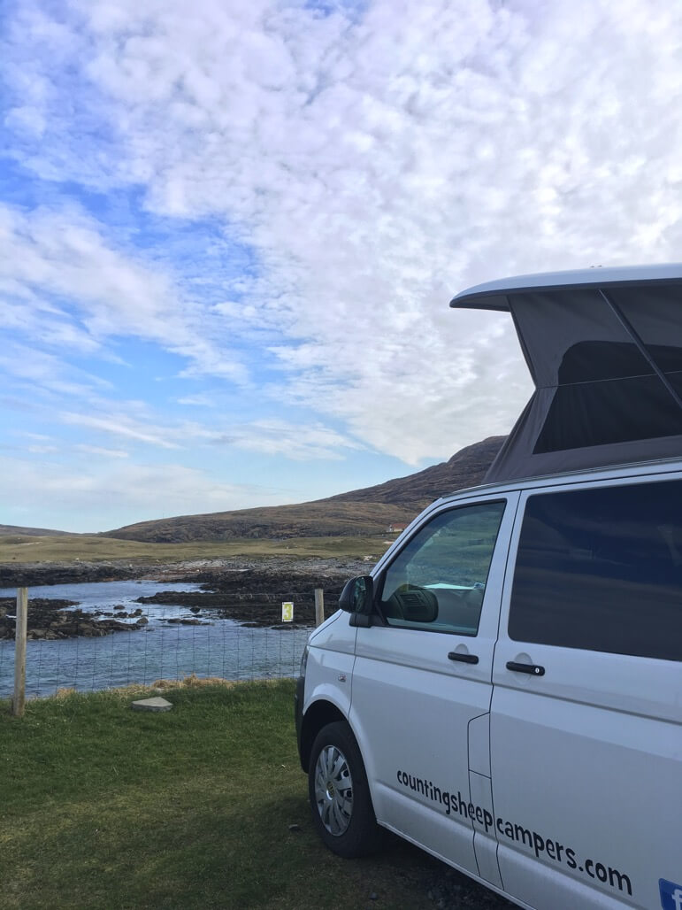 camping spot with pebbles motorhome hire