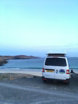 rear view pebbles at beach western isles camper van hire
