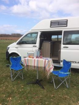 skye with picnic set up motorhome rent