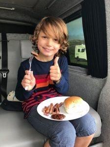 eating campervan
