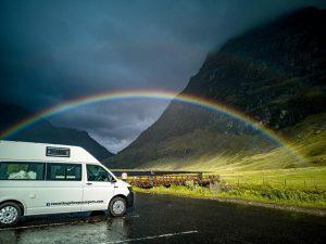 campervan in rain